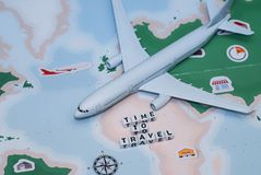 Time to Travel. Idea for tourism with airplane, compass and map on a light background. Concept on the theme of flights. Time to Travel. Idea for tourism with royalty free stock photos