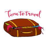 Time to travel illustration of brown bag with Stock Photos