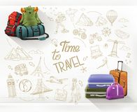 Time to Travel. Journey and hiking vector Stock Image