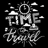 Time To Travel Lettering Stock Images