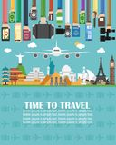 Time to travel.lorem ipsum is simply text. Time to travel,around the world.Lorem ipsum is simply text.Vector illustration royalty free illustration