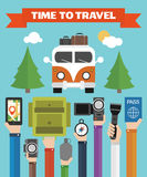 Time to Travel modern Flat background with hand Royalty Free Stock Images