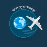 Time to travel modern flat style plane Royalty Free Stock Photo
