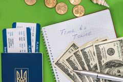Notepad, tickets  passport and dollar. Time to travel - notepad, tickets, passport and dollar Royalty Free Stock Images