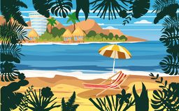Summer holidays vacation umbrella beach chair seascape landscape ocean sea beach, coast, palm leaves. Tropical leaves. Time to travel ocean sea beach, coast royalty free illustration