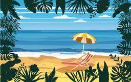 Summer holidays vacation umbrella beach chair seascape landscape ocean sea beach, coast, palm leaves. Tropical leaves. Time to travel ocean sea beach, coast vector illustration