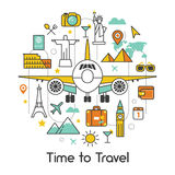 Time to Travel by Plane Line Art Thin Icons Royalty Free Stock Photos