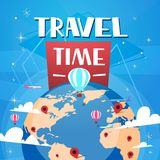 Time To Travel Poster With Air Balloons Over Worlds Globe On Blue Background Retro Tourism Banner. Vector Illustration Stock Photo