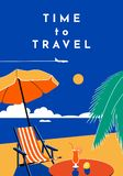 Time to Travel poster. Summer banner with beach and sea. Vector flat illustration royalty free illustration