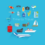 Time to travel poster template. On blue background. Vector illustration Stock Photo