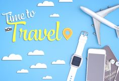 Time to travel poster with travel object on blue sky Royalty Free Stock Photography