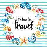 Time to travel quote on the cute hand drawn seashells wreath vector illustration