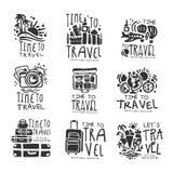 Time to travel set for label design. Black vector Illustrations royalty free illustration