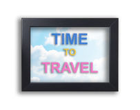 Time to travel on sky photo frame. Time to travel on sky black photo frame Stock Image