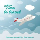 Time to travel. Square banner contains plane, clouds. Discount. Ready for social media square vector banner. Contains painted piane, sky, clouds, discount text Royalty Free Stock Image