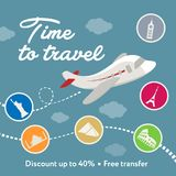 Time to travel. Square banner contains plane, clouds. Discount. Ready for social media square vector banner. Contains painted piane, sky, clouds, discount text Royalty Free Stock Images