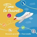 Time to travel. Square banner contains plane, clouds. Discount. Stock Photography