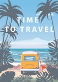 Time to travel Summer holidays vacation seascape landscape ocean sea beach, coast, palm leaves. Bus surfboard, retro. Time to travel Summer holidays vacation royalty free illustration