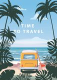 Time to travel Summer holidays vacation seascape landscape ocean sea beach, coast, palm leaves. Bus surfboard, retro. Time to travel Summer holidays vacation vector illustration
