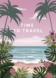 Time to travel Summer holidays vacation seascape landscape ocean sea beach, coast, palm leaves. Retro, tropical leaves. Time to travel Summer holidays vacation royalty free illustration