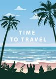 Time to travel Summer holidays vacation seascape landscape seascape ocean sea beach, coast, palm leaves. Retro, tropical. Time to travel Summer holidays vacation royalty free illustration