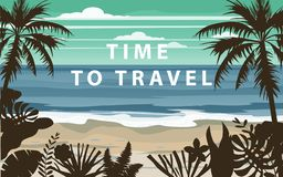Time to travel Summer holidays vacation seascape landscape seascape ocean sea beach, coast, palm leaves. Retro, tropical. Time to travel Summer holidays vacation vector illustration