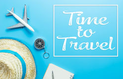 Time to travel text on blue accessories trip Royalty Free Stock Photos