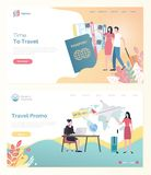 Traveling by Plane, Ticket and Tourist Web Vector vector illustration