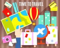 Time to travel. Tourism symbols. Eps 10 Stock Image