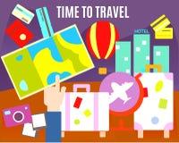 Time to travel. Tourism symbols. Eps 10 Stock Photo