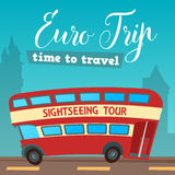 Time to Travel. Travel by Bus. Euro Trip. Travel banner Stock Photography