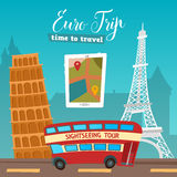 Time to Travel. Travel by Bus. Euro Trip. Travel banner Royalty Free Stock Photo