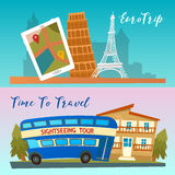 Time to Travel. Travel by Bus. Euro Trip. Travel banners Royalty Free Stock Images