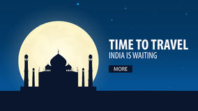 Time to travel. Travel to India. India is waiting. Vector illustration. Stock Photos