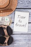 Time to travel vacation concept. Wanderlast flat lay, top view Royalty Free Stock Image