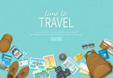 Time to travel, vacation, journey. Travel planning, preparing, packing check list, booking hotel. Ð¡amera, photos, air ticke. Time to travel, vacation, journey stock illustration