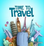 Time to travel vector design with famous tourism destinations and landmarks of the world. And traveling bag element in blue background. Vector illustration vector illustration