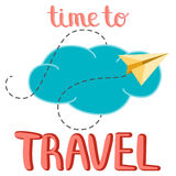 Time to travel vector illustration.  Lettering composition, clou Stock Images
