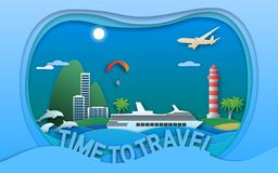 Time to travel vector illustration in paper cut style. Sea resort town, cruise ship, lighthouse, paraglider, islands, dolphins. Stock Image