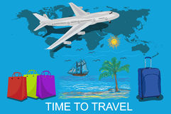 Time to travel and vocation concept, vector illustration Stock Photo
