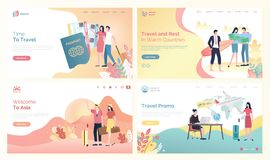 Time to Travel Websites with People Destinations. Time to travel websites with people and destinations vector. Man and woman with tickets, traveling to Asia, and vector illustration