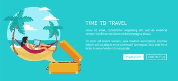 Time to Travel Relaxing Woman Vector Illustration Stock Images