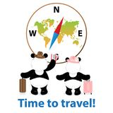 Time to travel.World map,compass.Two pandas bears stands with a. Suitcase and holds ticket,document.On the head a hat.Vector illustration.Isolated,white Royalty Free Stock Photography