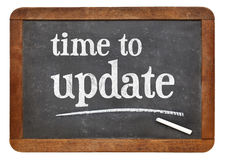 Time to update reminder on blackboard Royalty Free Stock Photography