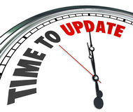 Time to Update Words Clock Renovate Improvement. The words Time to Update on a clock to illustrate the need to improve, renovate, renew or revitalize in a home Royalty Free Stock Photo