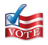 Time to Vote!. Flag banner with blue check mark showing it is time to Vote Royalty Free Stock Photo