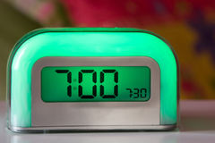 Time To Wake. Green Clock Royalty Free Stock Photo