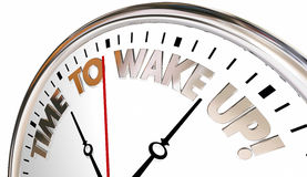 Time to Wake Up Alarm Clock Be Aware Pay Attention. 3d Illustration Stock Photography