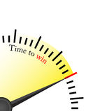 Time to win - clock. A clock with time to win that sugest that is time to do something stock illustration