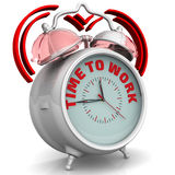 Time to work. The alarm clock with an inscription Royalty Free Stock Photos